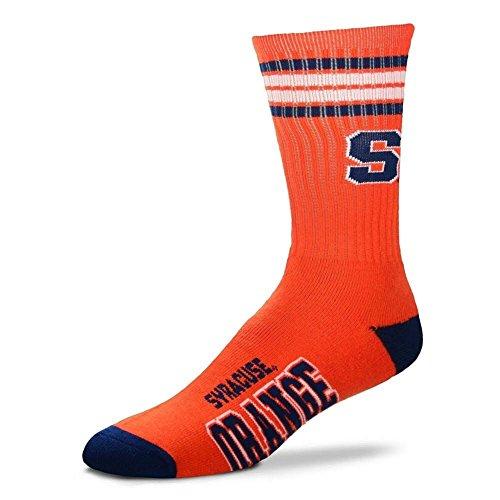 Bare Feet Clothing Store - For Bare Feet NCAA 4 Stripe Deuce Crew Men Socks-Syracuse Orange-Large