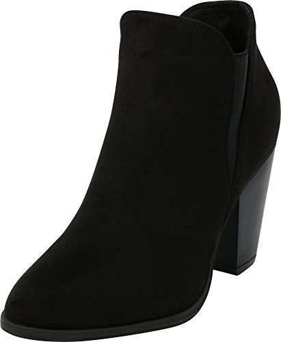 (Cambridge Select Women's Closed Toe Western Side V Stretch Cutout Chunky Stacked Heel Ankle Bootie,9 B(M) US,Black IMSU)