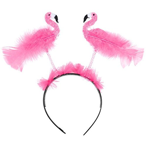 Amscan Hawaiian Beach Luau Summer Flamingo Bopper Headband (1 Piece), Pink, 10.5 x 14