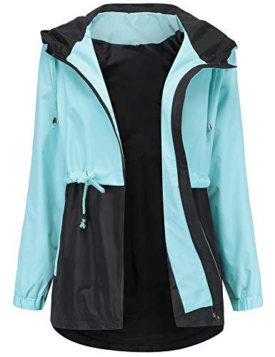 Women's Warm Windbreaker Waterproof Rain Jackets Versatile Anorak Jackets Mountain Ski Coat Light Blue XL
