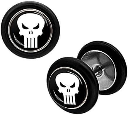 Marvel Punsher Skull Logo 18G Stainless Steel Fake Plug Earrings