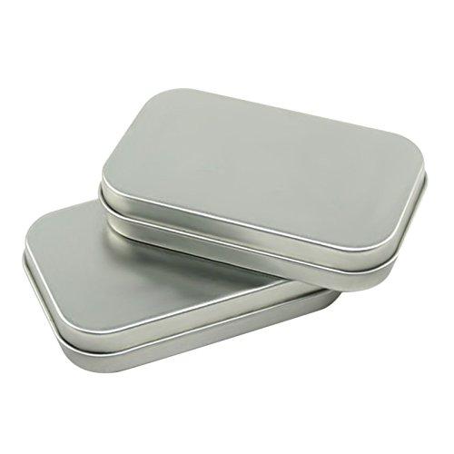 Acero Caja de lata, Basic Necessities latas, 3,52,41,8cm, pequeña caja regalo para joyas Artesanía Bálsamo de Labios...