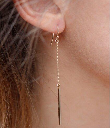 Beancase(TM) Fashion Golden Tiny Bar Womens Ladies Earring