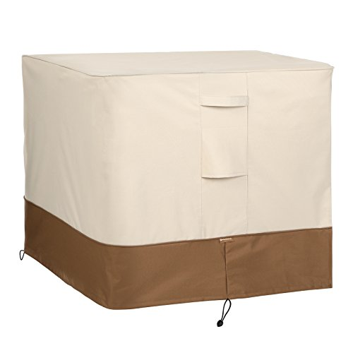 SONGMICS Air Conditioner Outside AC Units Square Full Outdoor Cover L x 34″W x 30″H UGAC01CE, Beige & Brown (Outdoor W Fire Pit Big)