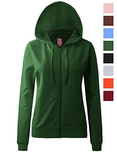 Regna X Womens Long Kangaroo Pocket Tunic Full Zip Hooded Sweatshirt Green S by Regna X