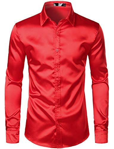 (ZEROYAA Men's Luxury Slim Fit Silk Like Satin 70s Disco Shirt Party Prom Dress Shirts ZLCL14-Red)