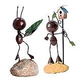 SM SunniMix 2Pcs Metal Sculpture Retro Iron Ant Decoration Unique Metal Art Decoration Ornaments Creative Kids Gifts, Multiple Ant Model