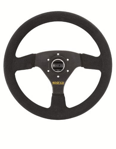 Sparco R323 Steering Wheel - 350mm (13.78 inches) - Black Suede with Black Spokes - Part # 015R323PSN