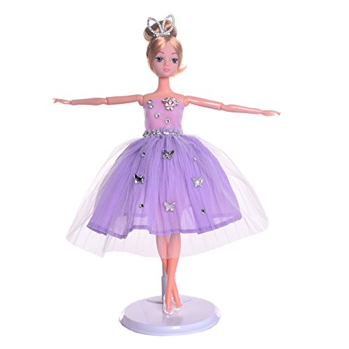 Lazada Fairytale Ballerina Doll Wearing Purple Skirt Gift Collectible 13'' with Display Stand Gift Bag