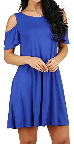 houlder Sundress Oversized Tunic Shirt Dress Royal Blue XL (Cut Out Solid Cotton)