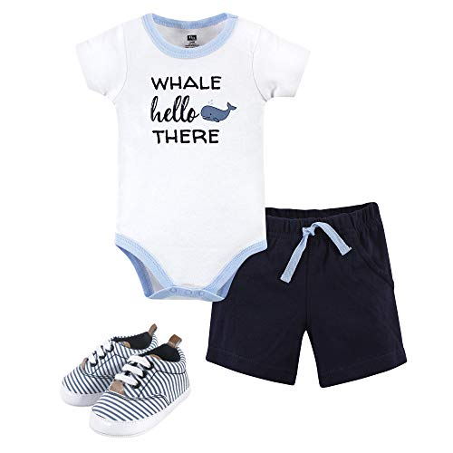 Hudson Baby Unisex Baby Bodysuit, Bottoms and Shoes, Whale Hello 3 Piece Set, 6-9 Months (9M)