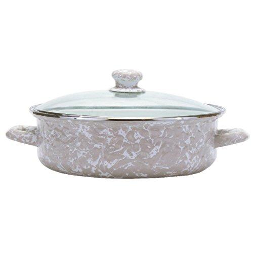 Enamelware - Taupe Swirl Pattern - 5 Quart Saute Pan