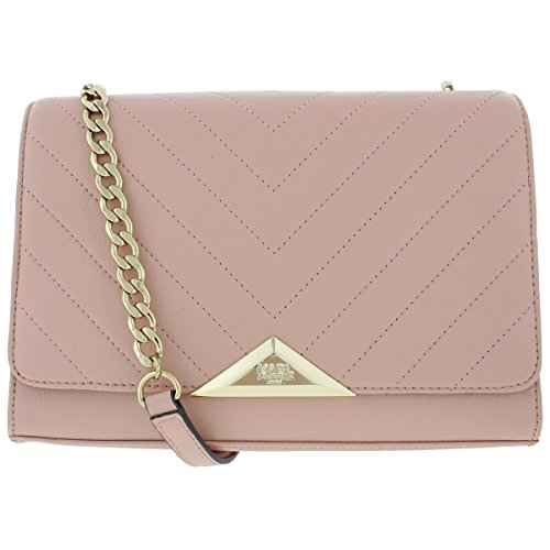 Karl Lagerfeld Womens Gigi Leather Pebbled Shoulder Handbag Pink Medium