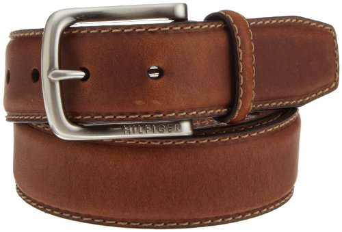 Tommy Hilfiger Men's Leather Stitch Belt,Brown,32 (Stitch Leather Dress Belt)