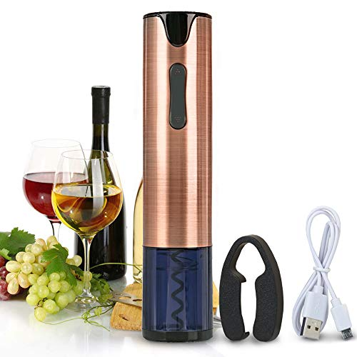 Electric Wine Opener Rechargeable Corkscrew Bottle Opener with Foil Cutter Stainless Steel Materials (Rose Gold) by FLASNAKE