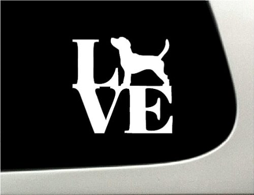 LOVE Beagle Dog Puppy Text Vinyl Car Sticker Symbol Silhouette Keypad Track Pad Decal Laptop Skin Ipad Macbook Window Truck Motorcycle (Symbol Puppy Text)