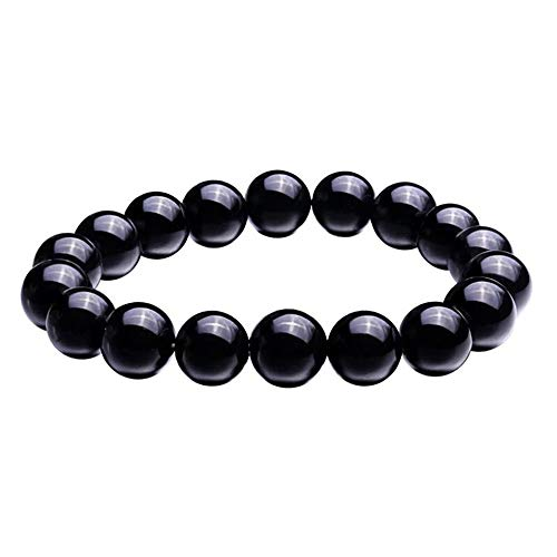 BOOSCA Jewelry Gifts for Men and Women Natural Gemstone Agate Stretch Bead Bracelet Black Onyx 12mm