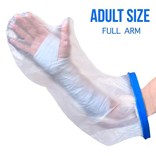 r For Shower & Bath - Adult Arm. Reusable 100% Sealed Water Protector Keeps Casts & Bandages Dry. Full Watertight Protection, Covers Broken Hands, Wrists, Fingers, Wounds, Burns. ()