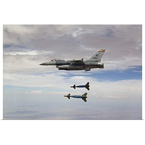 (GREATBIGCANVAS Poster Print Entitled an F-16 Fighting Falcon Releases Two GBU-24 Laser Guided Bombs by HIGH-G Productions 18