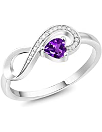 10K White Gold 0.22 Ct Heart Shape Purple Amethyst Diamond Infinity Ring (Available in size 5, 6, 7, 8, 9)