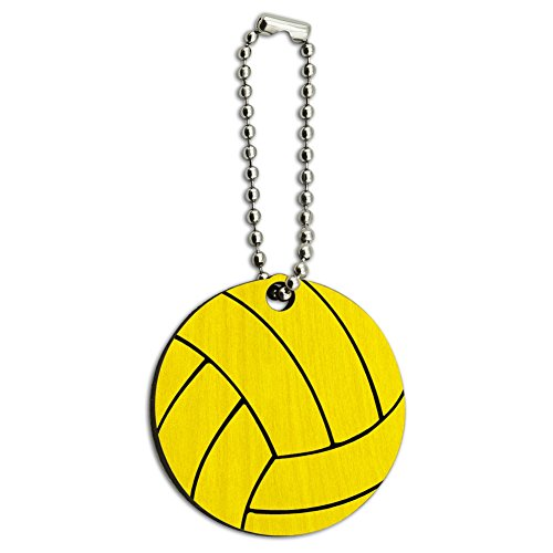 Water Polo Ball Wood Wooden Round Key Chain