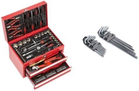 Mannesmann - M29066 - Caja de herramientas equipada con 155 piezas + M18170 - Juego de llaves allen hexagonales y de punta Torx (18 unidades): Amazon.es: Bricolaje y herramientas