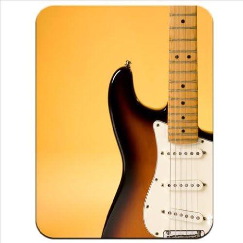 Close Up de una guitarra eléctrica detalle con iluminación naranja ...