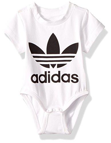 - adidas Originals Kids' Toddler Trefoil Onesie, White/Black, 2T