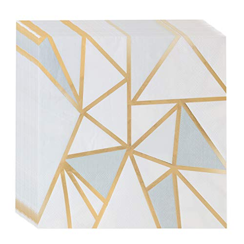 Napkins Gold and White Bulk, [60 Pack] Cocktail Party Napkin, For Wedding Reception, Holiday Events Bridle Shower Tableware, Disposable,3 PLY ()