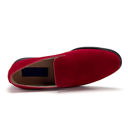 Mens 86212 Slip On Designer Smoking Loafers Slippers Dress Shoes Red irUJniORs