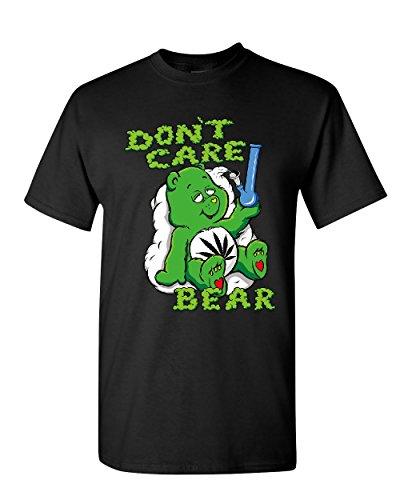 Care Bears Cotton T-shirt (Don't Care Bear Bong T-Shirt Get High Marijuana Smoking Weed 420 Mens Tee Shirt Black XL)