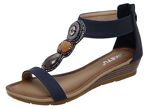 46ebb6fe0f81 AGOWOO Womens Gladiator Ankle Strap Wedge Sandals Beaded Sandles