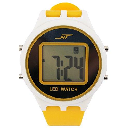 Alike A1056 Fashionable Luxury Nature Style Backlight Alarm Led Light Waterproof Silicon Wristwatches (YELLOW)