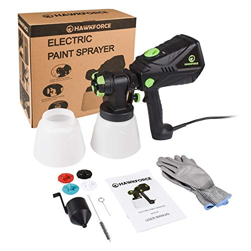 Hawkforce Electric Paint Sprayer with 2PCS 1000ml Detachable Container,1200ml/min, 700 Watt High Power HVLP Home Spray Gun,Flow Control, 4 Nozzle Sizes, 3 Spray Patterns for Various Painting Projects