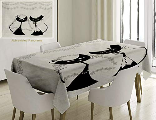 Unique Custom Cotton And Linen Blend Tablecloth Animals Decor Collection Cats The Groom And The Bride Life Partners Celebrating With Dress Bow Tie JoyTablecovers For Rectangle Tables, 70 x 52 Inches]()