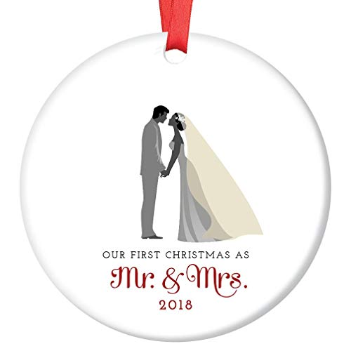 Mr & Mrs Ornament 2018 First Christmas Married Couple Ceramic Collectible Gift Idea for Bride & Groom Newlyweds 1st Holiday Season Wed 3