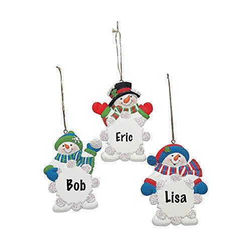 Fun Express - Resin Snowmen Snowflake Ornaments for Christmas - Home Decor - Ornaments - Snowman - Christmas - 12 Pieces