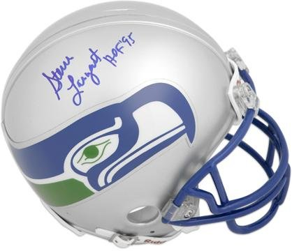 Largent Signed Hand Steve (Steve Largent Seattle Seahwks Autographed Mini Helmet with HOF 95 Inscription - Fanatics Authentic Certified)