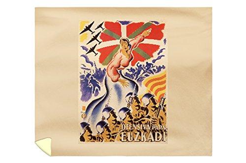 Ofensiva para Euzkadi Vintage Poster (artist: Carmona) Spain c. 1937 (88x104 King Microfiber Duvet Cover) by Lantern Press