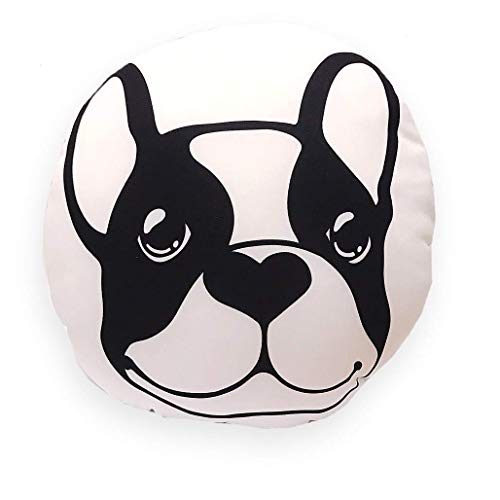 Frenchic French Bulldog Car Seat Office Chair Cushion Protect Back Lumbar Support Soft Pillow Black White Dot Sublimation Cover (No inner bag) ()