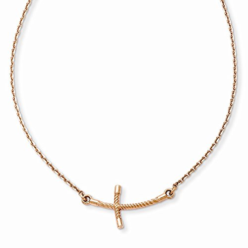 Sideways Crosses Necklaces Necklace with Pendants 14k Rose Gold Small Sideways Curved Twist Cross Necklace One Size