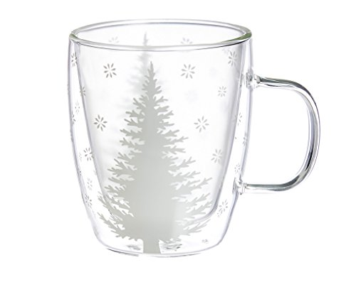 Cypress Home White Tree Glass Coffee Cup, 12 ()