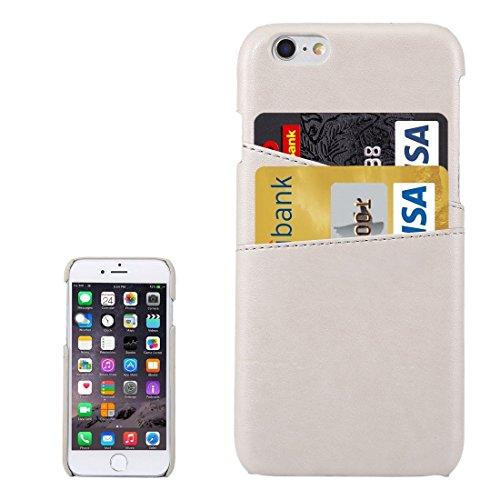Phone Taschen & Schalen Für iPhone 6s Plus Lammfell Texture Leder Rückseite mit Kartensteckplätzen ( Color : White )