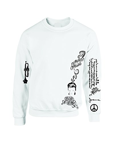 Allntrends Women's Sweatshirt Lady Gaga Tatto Medium White