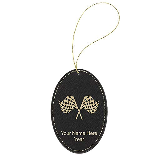 SkunkWerkz Christmas Ornament, Racing Flags, Personalized Engraving Included (Black -