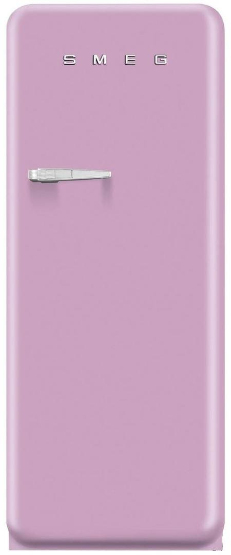 Smeg FAB28UPKR1 24'' 50s Retro Style Top-Freezer Refrigerator with 9.22 Cu. Ft. Capacity Ice Compartment Interior Light Adjustable Glass Shelves and Bottle Storage in Pink: Right