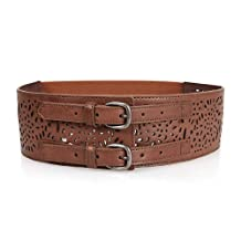BMC Double Buckle Style Thick Elastic Brown Cut Out Faux Leather Fashion Belt