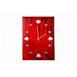 Red Metal, Large Rectangular Metal Powder Coated Wall Clock, Sleek, Industrial, Modern and Unique, Silent (non-ticking)