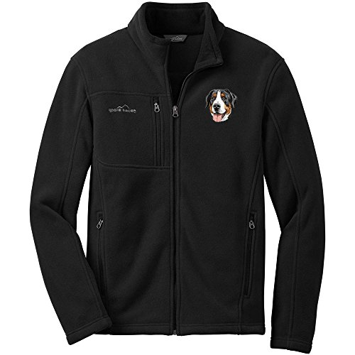 Cherrybrook Dog Breed Embroidered Mens Eddie Bauer Fleece Jacket - Small - Black - Greater Swiss Mountain ()