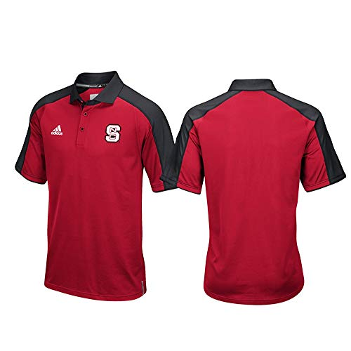 adidas NC State Wolfpack NCAA Men's Sideline Climalite Performance Football Coaches Red Polo Shirt ()
